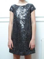 Sukienka w cekiny, czarna, 150/11 lat