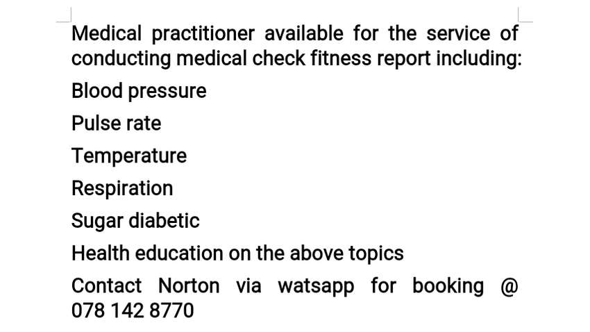 conducting medical check fitness report