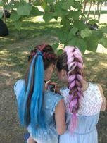 плетение косичек, боксерские косы с канекалоном, брейды, окрашивание