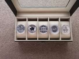 5 Different Silver Coins (2020) in Leather Display Case