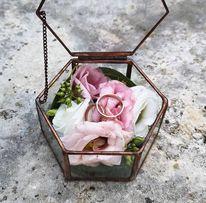 Шкатулка коробка для кольцо обручальное стеклянная свадебный декор