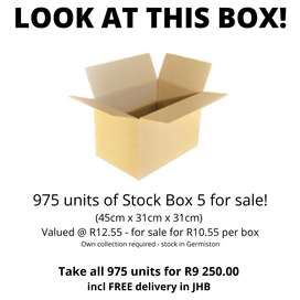 Stock 5 Boxes for Sale!