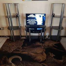 TV Stand 3 Piece Glass Black