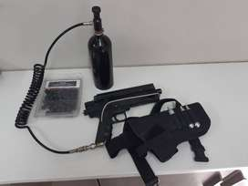 Duel Blackpiece pistol with remote gas canister and holster