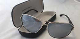 Okulary POLARYZACYJNE do auta lustrzanki srebrne FILTR UV 52