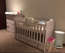 French baby cot and 5 drawer chest