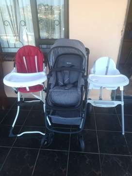 Pram from Little Me and feeding chairs from Boni, 0 to 24 months