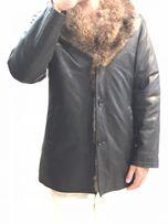 Зимняя мужская кожаная куртка на меху