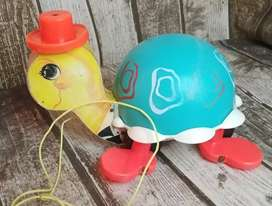 Vintage Fisher Price 1962 Tip Toe Turtle Pull-Along Toy