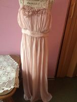 Pudrowa sukienka wieczorowa H&M