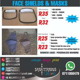 FACE SHIELDS AND MASKS / FLOOR DECALS