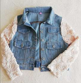 Brand New Crop Denim Jacket with Unique Sleeves Detail.