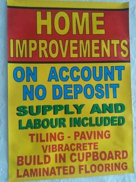 BUILDING MATERIALS & HOME IMPROVEMENTS ON ACCOUNT NO DEPOSIT