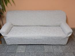 Pokrowiec na sofę 2-3 osobową niebiesko- granatowy kremowy