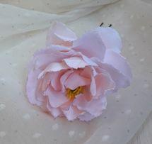Розовый, белый цветок в волосы.Пион.Свадебная шпилька Прическа невесты