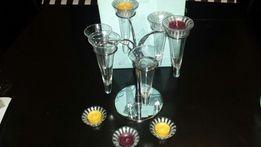 Świecznik, kieliszki do szampana kryształowe ,Party Lite