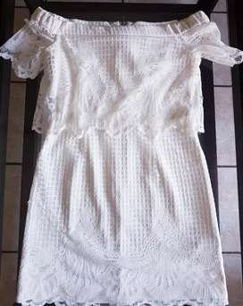 Topshop cream white lace dress size 8