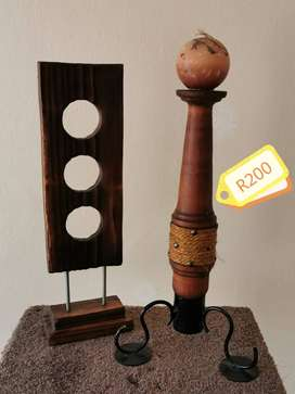 Candle holder and wood desk piece