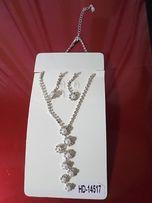 Красивое ожерелье с камушками и жемчугом + cерьги