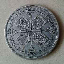 Very nice 1936 British silver Florin/2 Shillings