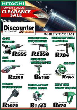 Hitachi Power Tools Clearance SALE at Discounter Midas!