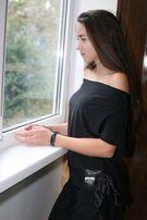Черное итальянское платье М с поясом из пайеток Speccio