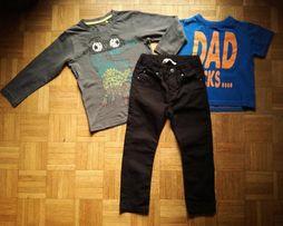 Komplet: czarne rurki H&M + t-shirt Rebel+bluzka CoolClub, r. 104-110