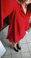 STYLOVE czerwona sukienka z szerokimi rękawami