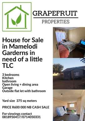 House for Sale in Mamelodi Garderns in need of a little TLC