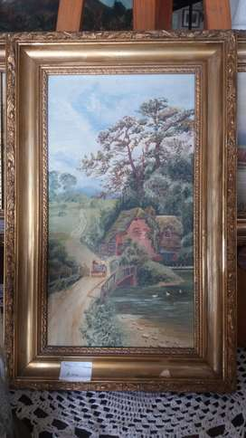 Antique (over 100yrs) pair/set of oil paintings on canvas.