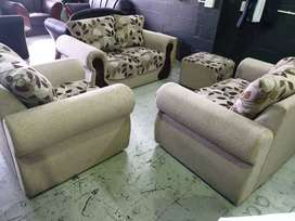 Brown Fabric 3-Piece Lounge suite  1-Seater  + 2 x  2-Seater + Ottoman