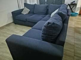 L-shaped fabric couch