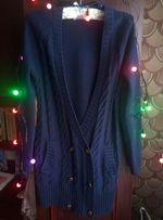 Длинный темно синий кардиган на пуговицах с латками на локтях,s размер