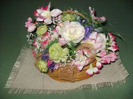 Корзинка с экзотическими цветами для декора + подарок