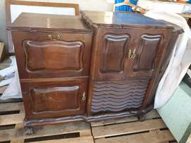 Antique record player with side cupboard space