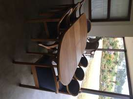 10 SEATER OAK DINING ROOM TABLE (AND CHAIRS)