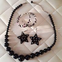 Классный черный набор бусы серьги кольца леопард звезды