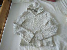 Ciepły sweterek z kapturem rozpinany kardigan S