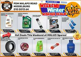 Weekend Winter Warmer Deals at Mhluzi Spares!