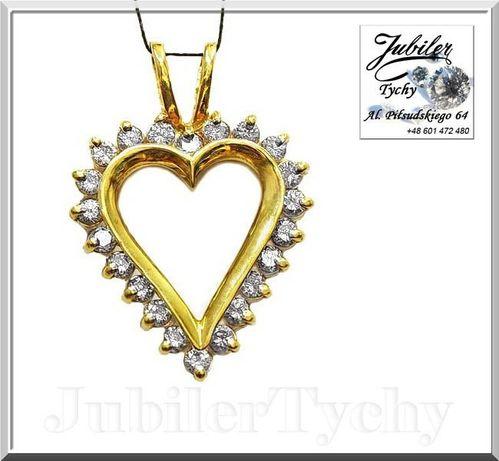 Złote duże serce z cyrkoniami serduszko wisiorek złoto Jubiler Tychy Tychy - image 1