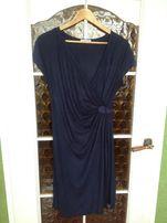 Sukienka Promod 40 L Granatowa Kopertowa Rozcięcie