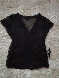 Koronkowa bluzka damska, czarna, H&M, M/L