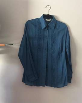 New Woolworths Teal Shirt with tuck detail. Size: 14