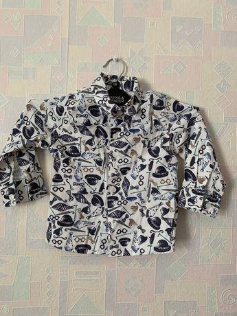 Стильная рубашка для мальчика 1-2 года. Идеальное состояние 300 руб Макеевка - изображение 1