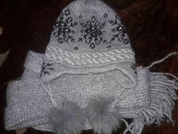 Супер модні шапка з шалом з шерсті можу переслати поштою будь яким пер