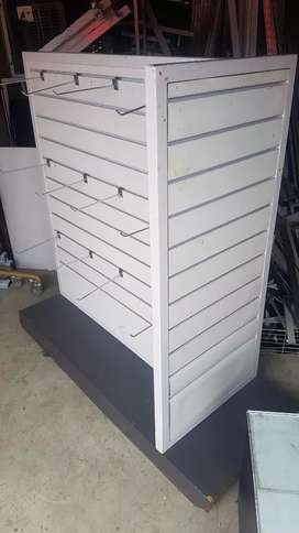 White and grey 3 sided Wooden display unit with hooks