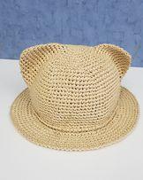 Детская шляпа панама из рафии соломки с ушками