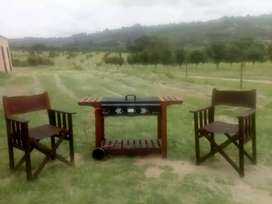 Wood Patio Braai with 2 x Leather Directors chairs