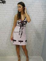 Sukienka gucci pudrowy róż kokardka S M sale