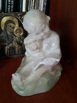 Антикварная статуэтка девочка с собакой. СССР Артель Керамик